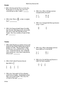 4th Grade Math Daily Review Week 22