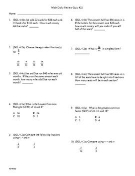 4th Grade Math Daily Review Week 22