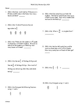4th Grade Math Daily Review Week 24