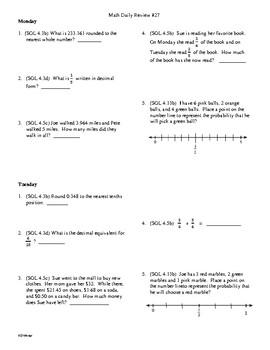 4th Grade Math Daily Review Week 27
