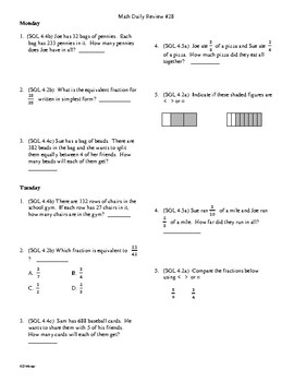 4th Grade Math Daily Review Week 28