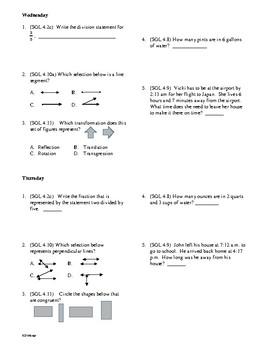 4th Grade Math Daily Review Week 30