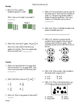 4th Grade Math Daily Review Week 31