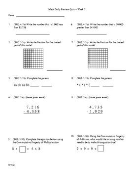 4th Grade Math Daily Review Week 5