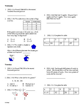 4th Grade Math Daily Review Week 9
