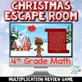 4th Grade Math Digital Christmas Escape Room Game   Multip