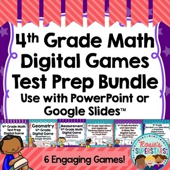 4th Grade Math Digital Test Prep Digital Game Bundle ~PowerPoint & Google Slides