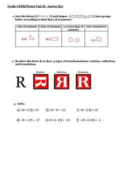 Everyday Math 4th Grade Unit 10 Pretest