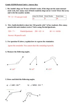 Everyday Math 4th Grade Unit 6 Pretest