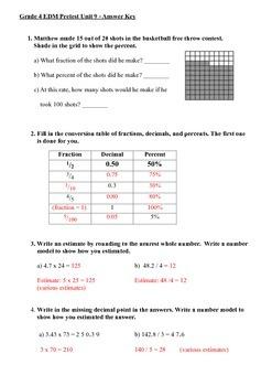 Everyday Math 4th Grade Unit 9 Pretest