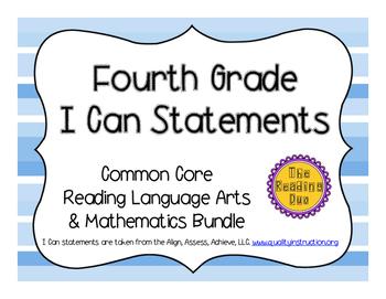 4th Grade Math & ELA Bundle I Can Statements