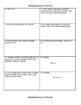 4th Grade Math Editable Ticket out the Doors (TOTD)