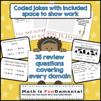 4th Grade Math End of Year Review Task Cards - includes riddle answer document!