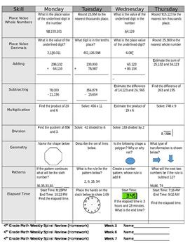 4th Grade Math Spiral Review