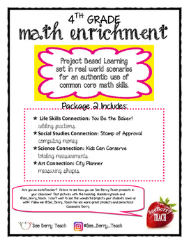 4th Grade Math Enrichment Project Package 2