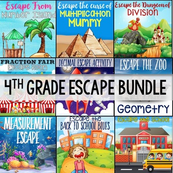 4th Grade Math Escape Bundle - Use For Distance Learning