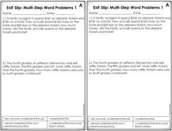 4th Grade Math Exit Slips | All Standards