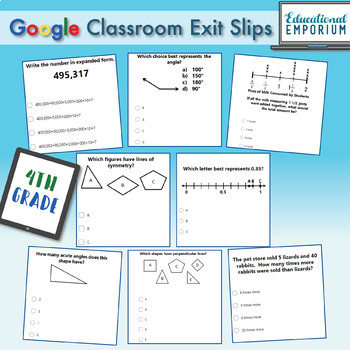 4th Grade Math Exit Slips Digital + Paper MEGA Bundle: Google + PDF Exit Tickets