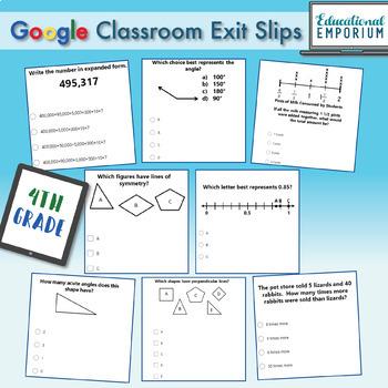 4th Grade Math Exit Slips Digital + Paper MEGA Bundle: Google + PDF Exit Tickets