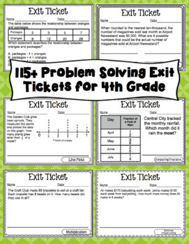 4th Grade Math Exit Tickets: Fourth Grade Math Problem Solving