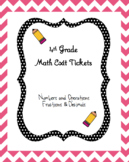 4th Grade Math Exit Tickets - Fractions and Decimals