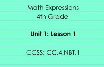 4th Grade Math Expressions Unit 1: Lesson 1 Sample