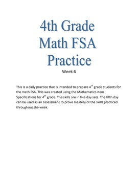 4th Grade Math FSA Practice Week 6