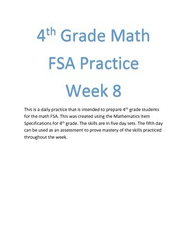 4th Grade Math FSA Practice Week 8