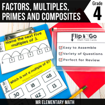 Factors Multiples Prime and Composite Numbers Task Cards 4th Grade Math Centers