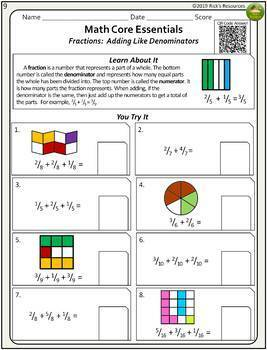 th grade math fraction worksheets by ricks resources  tpt th grade math fraction worksheets