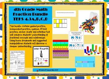 4th Grade Math Fractions Bundle TEKS 4.3A-C