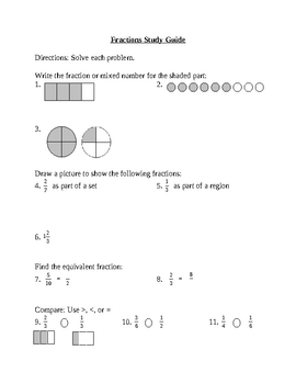 4th Grade Math-Fractions Test and Study Guide