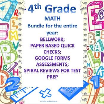 4th Grade Math Full Year Bundle with Bellwork, Quick Checks, and Spiral Reviews