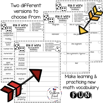 4th Grade Math Fun Interactive Vocabulary Dice Activity - EDITABLE
