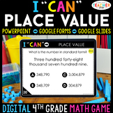 4th Grade Math Game DIGITAL   Place Value   Distance Learning