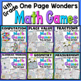 4th Grade Math Games - One Page Wonders 4th Grade Math Centers