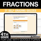 Fractions Google Form Math Assessments - 4th Grade Math Test Prep Quizzes