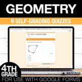 4th Grade Math Google FORMS - Geometry: 9 Paperless Activities