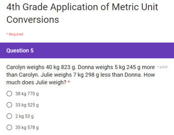 4th Grade Math Google Forms Assessments Bundle