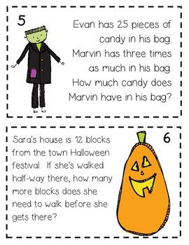 4th Grade Math Halloween Scoot