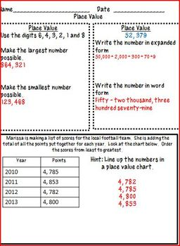 4th Grade Math Homework- Place Value & Addition & Subtraction (C-scope aligned)