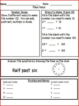 4th Grade Math Homework- Place Value & Addition & Subtract