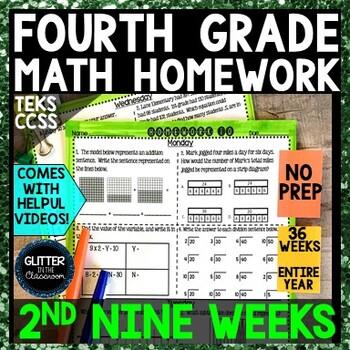 4th Grade Math Homework-2nd Nine Weeks
