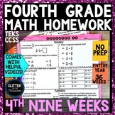 4th Grade - Math Homework - 4th Nine Weeks