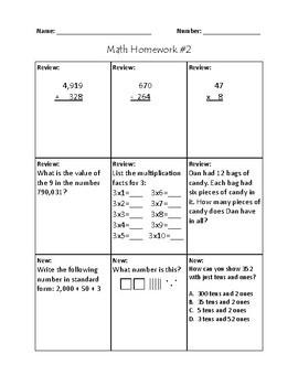 4th Grade Math Homework - First Quarter