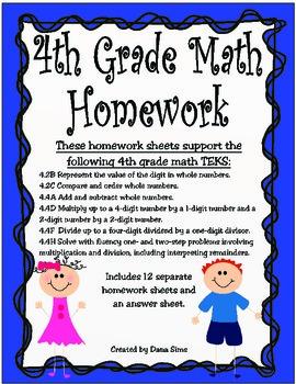 4th Grade Math Homework (STAAR Review Sheets)