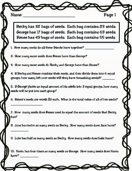 4th Grade Math Homework (STAAR Review Sheets)