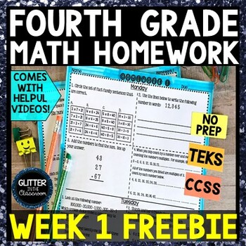 4th Grade Math Homework - Week 1 Freebie