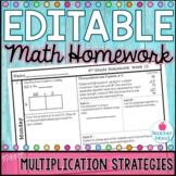 4th Grade Math Homework Week 10 {NO PREP} Spiral Review CCSS [4NBT5, 4OA3]