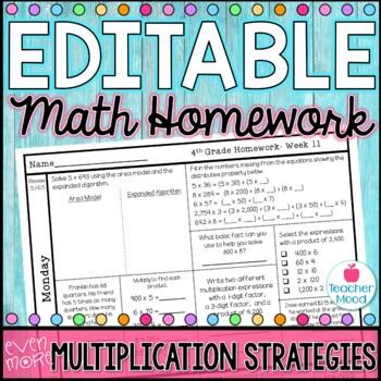 4th Grade Math Homework Week 11 {NO PREP} Spiral Review CCSS [4NBT5, 4OA3]
